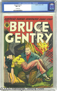 Bruce Gentry #2 (Superior, 1948) CGC NM+ 9.6 Off-white pages. Bruce gets busy saving a busty babe from burning wreckage...