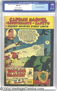 """Captain Marvel and the Lieutenants of Safety #3 (Fawcett, 1951) CGC NM 9.4 Off-white to white pages. """"Danger Smashe..."""