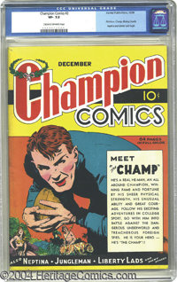 Champion Comics #2 (Harvey, 1939) CGC VF- 7.5 Cream to off-white pages. Although this book is #2, it is actually the fir...