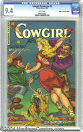 Golden Age (1938-1955):Western, Cowgirl Romances #8 Mile High pedigree (Fiction House, 1952) CGC NM9.4 White pages. A couple of vicious thugs have lassoed ...
