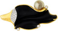 Estate Jewelry:Pendants and Lockets, Black Onyx, Diamond, Cultured Pearl, Gold, Platinum Pendant. ...