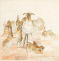 """Books:Original Art, Beatrix Potter. """"Dancing to the Piper."""" Original ink and watercolor drawing, circa 1890s. Background unfinished,..."""