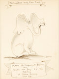 """Books:Original Art, Dr. Seuss. """"The Sweetest Story Ever Told. Matilda the Compassionate Elefant Who Devotes her Days to the Hatching o..."""