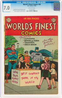 World's Finest Comics #69 (DC, 1954) CGC FN/VF 7.0 Off-white pages