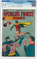 Golden Age (1938-1955):Superhero, World's Finest Comics #24 (DC, 1946) CGC VF- 7.5 Off-white to white pages....