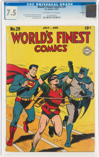 World's Finest Comics #29 Big Apple Pedigree (DC, 1947) CGC VF- 7.5 Off-white to white pages