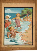 """Books:Original Art, Sarah Noble Ives (American Artist and Illustrator, 1864-1944). """"Three children sliding on the ice, upon a summer's day."""" Wat..."""