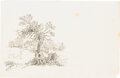 Books:Original Art, Thomas Bewick. Pencil Drawing for The Fables of Aesop (Newcastle: T. Bewick & Son, 1818)....