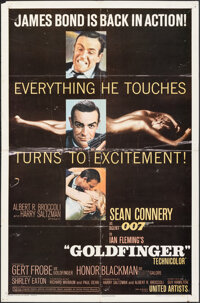 "Goldfinger (United Artists, 1964). Folded, Fine-. One Sheet (27"" X 41"") Glossy Style. James Bond"
