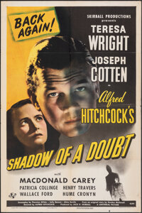 "Shadow of a Doubt (Universal, R-1946). Folded, Fine/Very Fine. One Sheet (27"" X 41""). Hitchcock"