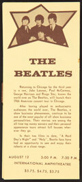 Music Memorabilia:Memorabilia, The Beatles 1966 Chicago, IL Ticket-Selling Pamphlet....