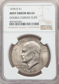 Errors, 1978-D $1 Eisenhower Dollar -- Double Curved Clips -- MS65 NGC....