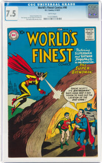 World's Finest Comics #90 (DC, 1957) CGC VF- 7.5 White pages