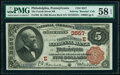 National Bank Notes:Pennsylvania, Philadelphia, PA - $5 1882 Brown Back Fr. 469 The Fourth Street National Bank Ch. # (E)3557 PMG Choice About Unc 58 EP...