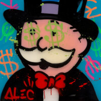 Alec Monopoly (b. 1986) Untitled, 2018 Acrylic and mixed media with resin finish 31-1/2 x 31-1/2
