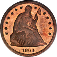 1863 $1 Motto Seated Dollar, Judd-346, Pollock-418, Low R.7, PR65+ Red and Brown PCGS. CAC....(PCGS# 70508)