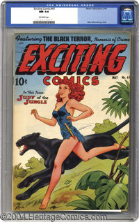 Exciting Comics #61 (Nedor Publications, 1948) CGC NM 9.4 Off-white pages. Alex Schomburg's output of airbrushed covers...