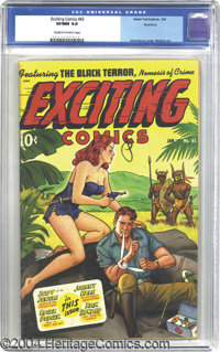 Exciting Comics #65 Rockford pedigree (Nedor Publications, 1949) CGC VF/NM 9.0 Cream to off-white pages. This airbrush c...