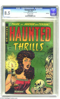 "Golden Age (1938-1955):Horror, Haunted Thrills #1 Bethlehem pedigree (Farrell, 1952) CGC VF+ 8.5Off-white pages. ""Headlight"" cover. CGC notes, ""two-inch t..."