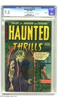 Golden Age (1938-1955):Horror, Haunted Thrills #3 Bethlehem pedigree (Farrell, 1952) CGC VF- 7.5Off-white to white pages. Drug use story. As of this writi...