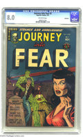 """Golden Age (1938-1955):Horror, Journey Into Fear #2 Bethlehem pedigree (Superior, 1951) CGC VF 8.0Off-white pages. """"Headlight"""" cover. This is the highest-..."""
