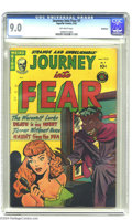"Golden Age (1938-1955):Horror, Journey Into Fear #7 Bethlehem pedigree (Superior, 1952) CGC VF/NM9.0 Off-white pages. ""Headlight"" cover. A certificate of ..."
