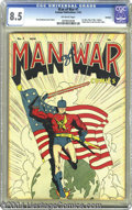 Golden Age (1938-1955):Superhero, Man of War #1 Hawkeye pedigree (Centaur, 1941) CGC VF+ 8.5Off-white pages. Paul Gustavson's flag cover got this title offt...
