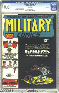 Military Comics #8 Pennsylvania pedigree (Quality, 1942) CGC VF/NM 9.0 White pages. If Chuck Cuidera's cover doesn't get...