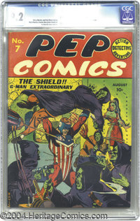 Pep Comics #7 (MLJ, 1940) CGC NM- 9.2 Off-white to white pages. Far and away, the highest-graded copy of Pep Comics #7 c...
