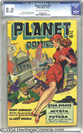 Golden Age (1938-1955):Science Fiction, Planet Comics #57 (Fiction House, 1948) CGC VF 8.0 Cream tooff-white pages. We're unsure what's causing the cover baddie to...