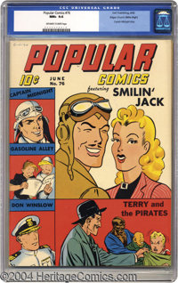 Popular Comics #76 (Dell, 1942) CGC NM+ 9.6 Off-white to white pages. No untested characters here -- Popular Comics live...