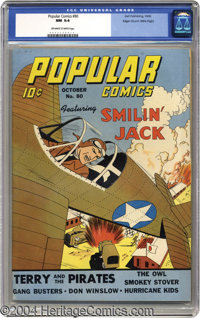 Popular Comics #80 Mile High pedigree (Dell, 1942) CGC NM 9.4 Off-white to white pages. Smilin' Jack drew top billing, b...