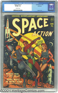 Space Action #1 Bethlehem pedigree (Ace, 1952) CGC VF/NM 9.0 Off-white pages. This brightly garbed hero isn't the only t...