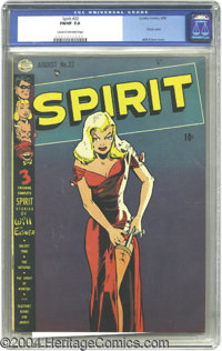 The Spirit #22 (Quality, 1950) CGC FN/VF 7.0 Cream to off-white pages. This issue boasts a classic Will Eisner cover. Ov...
