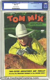 Tom Mix Western #1 (Fawcett, 1948) CGC NM- 9.2 Off-white to white pages. Eight years after his death, Tom Mix still rule...