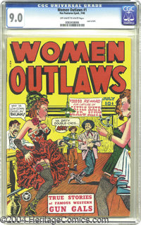 Women Outlaws #1 (Fox Features Syndicate, 1948) CGC VF/NM 9.0 Off-white to white pages. Victor Fox was a publisher who w...
