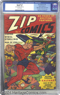 Zip Comics #1 Cosmic Aeroplane pedigree (MLJ, 1940) CGC FN/VF 7.0 Off-white pages. The origins of the Scarlet Avenger an...