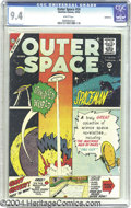 Silver Age (1956-1969):Science Fiction, Outer Space #24 Bethlehem pedigree (Charlton, 1959) CGC NM 9.4White pages. A multi-paneled cover promotes interior tales li...