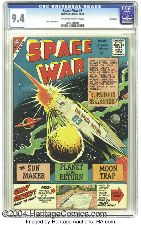 Space War #1 Bethlehem pedigree (Charlton, 1959) CGC NM 9.4 Off-white to white pages. Dick Giordano's meteoric U.N. Space Pa...
