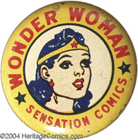 "Wonder Woman - Sensation Comics Litho Pinback Button (DC, 1942). Rare pinback measuring 1 1/4"" in diameter. Offered..."