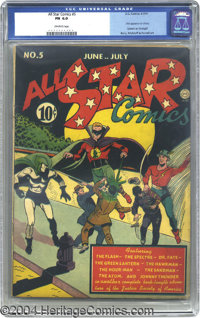 All Star Comics #5 (DC, 1941) CGC FN 6.0 Off-white pages. This issue of All Star Comics is of particular interest to bot...