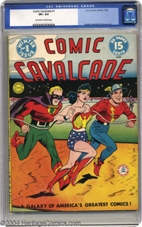 Comic Cavalcade #1 (DC, 1942) CGC VF+ 8.5 Off-white to white pages. This whopping 96-pager was headlined (as were all th...