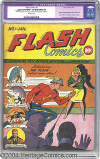 Flash Comics #1 (DC, 1940) CGC Apparent FN/VF 7.0 Extensive (P) Off-white pages. To call this issue a key is almost an u...