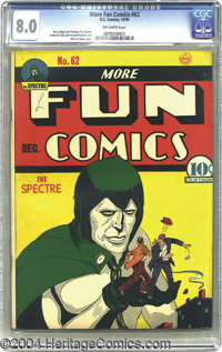 More Fun Comics #62 (DC, 1940) CGC VF 8.0 Off-white pages. You've got to hand it to the Spectre -- he knows how to domin...