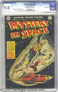 Golden Age (1938-1955):Science Fiction, Mystery in Space #5 Double Cover (DC, 1952) CGC VF/NM 9.0 Off-whiteto white pages. Primary colors juxtaposed against a blac...