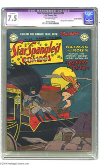Star Spangled Comics #90 (DC, 1949) CGC Apparent VF- 7.5, Off-white pages. Batman and Robin appear on a vividly color-ri...