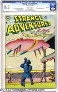 Golden Age (1938-1955):Science Fiction, Strange Adventures #46 River City pedigree (DC, 1954) CGC VF+ 8.5Off-white pages. A cool (pink) flying saucer cover, by Mur...