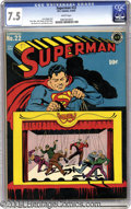 Golden Age (1938-1955):Superhero, Superman #22 (DC, 1943) CGC VF- 7.5 White pages. One of the more clever and amusing early Superman covers is this masterful ...