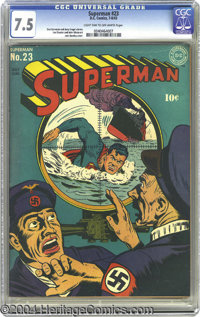 Superman #23 (DC, 1943) CGC VF- 7.5 Light tan to off-white pages. This isn't the paternal Superman of the Curt Swan year...