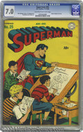 Golden Age (1938-1955):Superhero, Superman #25 (DC, 1943) CGC FN/VF 7.0 Light tan to off-white pages. Fred Ray penciled a number of Superman covers, but this ...